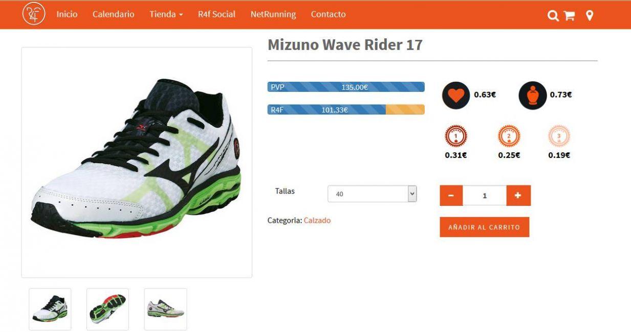 Una de las oferta de material de la web de Running4Free