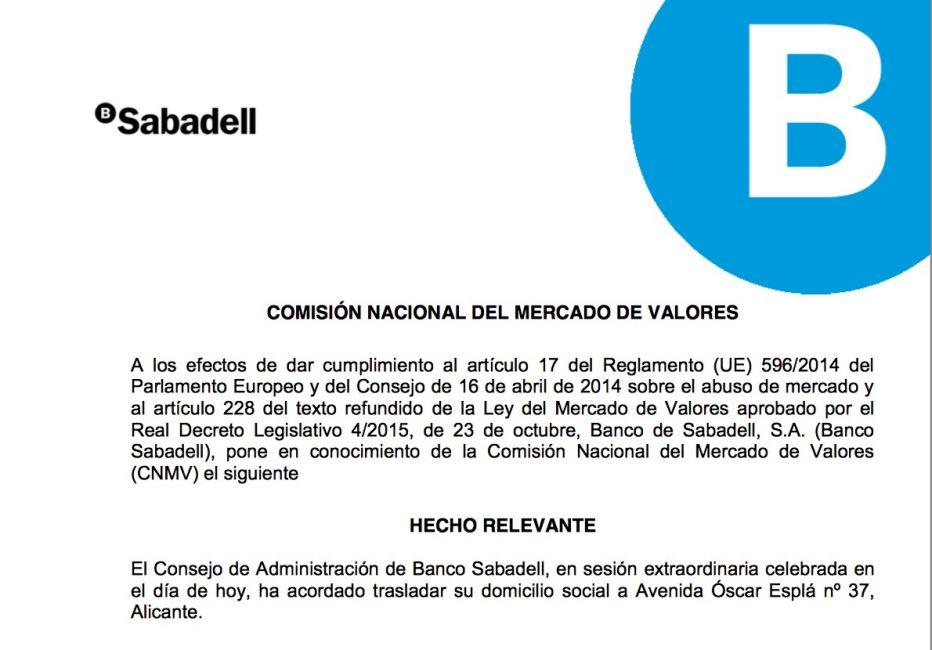 El Banco Sabadell comunica a la CNMV el traslado de su sede social a Alicante.