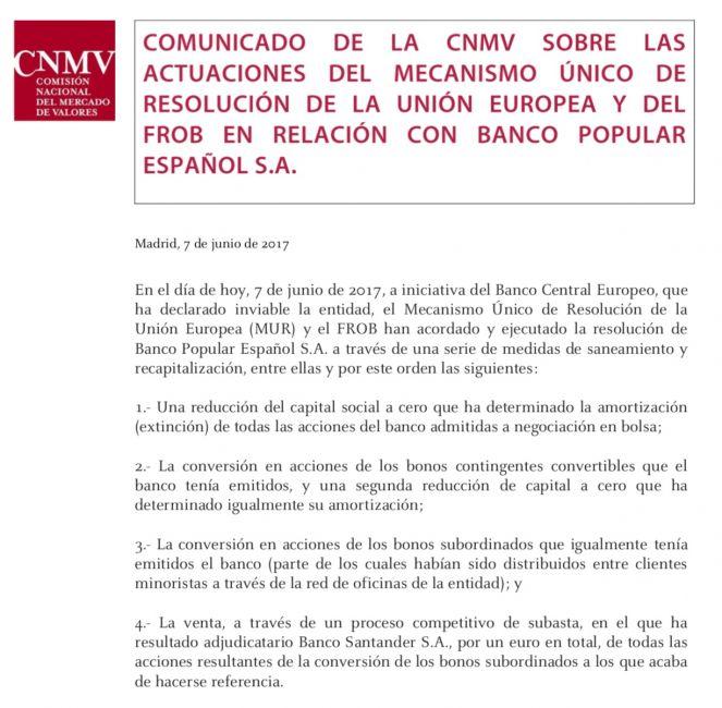 Comunicado de la CNMV