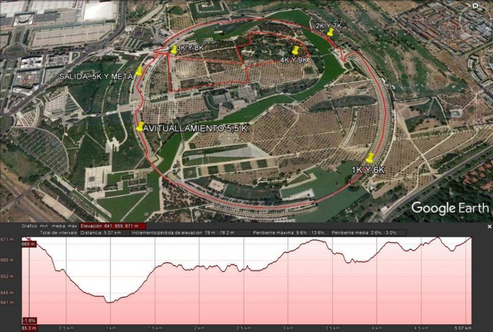 Recorrido 5 y 10km Carrera a favor de Down Madrid - A TU RITMO - Capital Radio